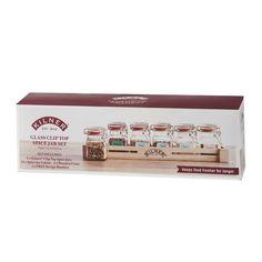 Sada 6 koreničiek v drevenej poličke Kilner Herbs&Spices Crates, Usb Flash Drive, Spices, Herbs, Jar, Glass, Spice, Drinkware, Corning Glass