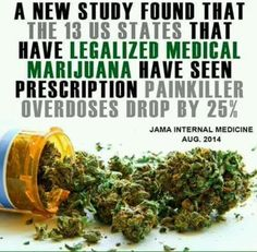 Prescription painkiller overdoses drop by 25% in the states that have legalized Medical Marijuana #CannabisIsMedicine