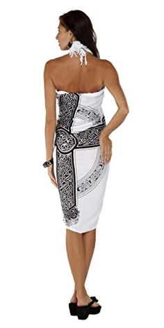 Introducing 1 World Sarongs Womens Celtic Swimsuit CoverUp Sarong Celtic Cross 3 in White. Get Your Ladies Products Here and follow us for more updates!