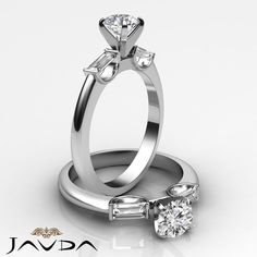 3 Stone Round Baguette Diamond Engagement Ring GIA F SI1 14k White Gold 1.3ct