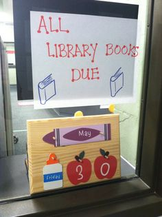 Book due date display at Fisher Elementary, Marshalltown, IA.
