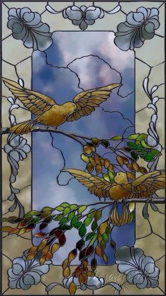 the-rouge-rose2u:    'Bird Study' artwork created entirely within PhotoImpact. Stained Glass 'Bird Study' by spitfirelas