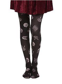Opaque black tights from LOVEsick with cat heads print design.<ul><li> One size fits most</li><li>100% nylon</li><li>Wash cold; dry low</li></ul>