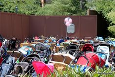 A Sea of Strollers! I love how the Mickey balloon sets that stroller apart!
