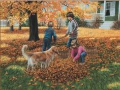 Image detail for -Raking Leaves by Mary G. Smith Art Print - WorldGallery.co.uk