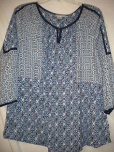 2f3d9c5e468 Dressbarn Plus 1X Navy Blue White 3 4 Sleeve Cotton Women Top Shirt Blouse
