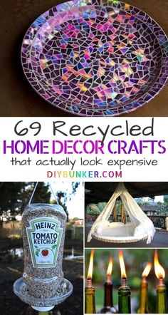 Recycling Projects: DIYs That'll Transform Your Home These recycled crafts . Recycling Projects: DIYs That'll Transform Your Home These recycled crafts are the perfect home decor if you'r Crafts From Recycled Materials, Recycled Home Decor, Upcycled Crafts, Diy Home Crafts, Diy Crafts To Sell, Diy Crafts For Kids, Decor Crafts, Sell Diy, Kids Diy