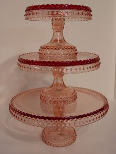 """LE Smith Rare Pink Hobnail Glass 15"""" Tall Pedestal Cake Plate Stand - Set of 3"""