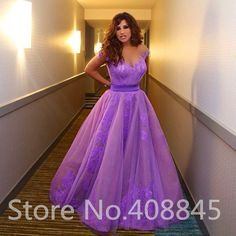 robe de soiree Arabic Dubai Elegant Lavender Tulle Long Celebrity Evening Dresses 2015 Sexy Appliques Lace Formal Prom Dress