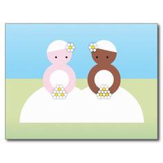 Two brides one caucasian postcard