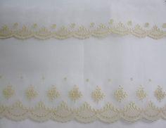 "71-100194/F, 195/F - Swiss Cotton Organdy, 2"" Edging, 5 1/2"" Edging, Ecru Emb. on White"