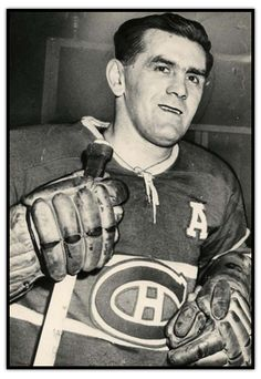 Photograph of Maurice Richard as an assistant captain in his Canadiens' jersey Go Habs Go ! Montreal Canadiens, Mtl Canadiens, Hockey Teams, Hockey Players, Ice Hockey, Maurice Richard, Hockey Pictures, Hockey Cards, National Hockey League