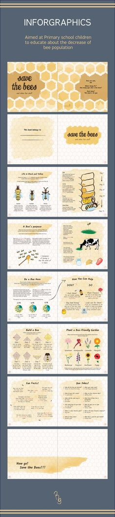Save the Bees! An Infographic booklet aimed at young children to be used in schools -  Educational. All images and design made by me, facts and information outsourced