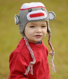 ff4e0c15eb4 Crochet Gray   Red Sock Monkey Hat for baby   toddler. juDanzy
