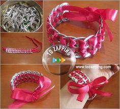Pulseras con anillas de latas. Aprende a hacer pulseras con anillas de latas, mientras reciclas,utilizando anilla de latas es muy fácil y sencillo además de