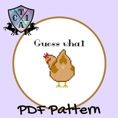 Funny Cross Stitch Pattern, Guess What Chicken Butt, Joke Embroidery, Small Hoop Art, Subversive Needlepoint - PDF, Instant Download