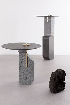 Formafantasma utilizes a material not often thought about for anything other than what it is – cooled lava. The studio used basalt, an igneous rock that forms when basaltic lava cools quickly, that came about from the debris left behind on November 20, 2013 when Mount Etna erupted in Sicily.