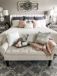 Future Home Interior Simple ideas for adding blush accents to your decor my master bedroom for Spring.Future Home Interior Simple ideas for adding blush accents to your decor my master bedroom for Spring Vintage Bedroom Decor, Diy Bedroom Decor, Bedding Decor, Master Bedroom Furniture Ideas, Master Bedroom Decorating Ideas, Vintage Bedrooms, Master Bedroom Color Ideas, Farmhouse Bedroom Furniture, Shabby Chic Grey Bedroom