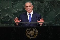 Prime Minister Benjamin Netanyahu of Israel addresses the session of the United Nations General Assembly, at U. United Nations General Assembly, Benjamin Netanyahu, Prime Minister, Israel, Tuesday, The Unit, Politics, Movies, Movie Posters