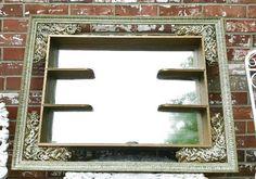 Vintage Mirrored Shadow Box Shelf Hollywood Regency Gold Ornate Roses   eBay