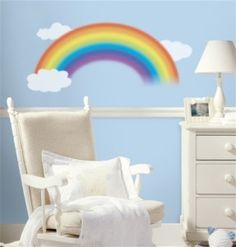 Rainbow with clouds wall stickers