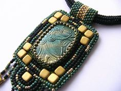 bead embroidery necklace black teal gold green handmade beadwork necklace unique beaded pendant OOAK