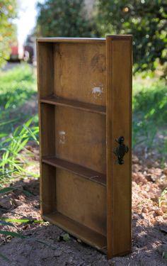 Dresser drawer turned on side - add spacers  http://www.etsy.com/listing/125147635/large-antique-wood-dresser-drawer-curio