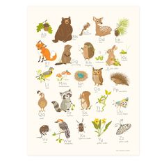 Alphabet Wall Art, Alphabet Print, Alphabet Posters, Abc Poster, Abc Alphabet, Abc Wall, Alphabet Nursery, Animal Alphabet, Forest Nursery
