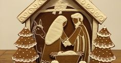 Gingerbread 3D Nativity pattern and tutorial. Cookie Nativity Scene with Mary, Joseph and Baby Jesus in a stable