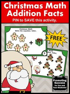 FREE Christmas Kindergarten Math Centers Addition Facts Task Cards Games and Activities