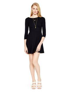ponte flirty back dress, black