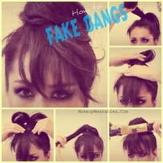 How to get fake bangs by putting your hair up in a bun. Neat idea...I may have to try this.  :)