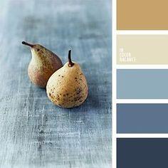 Blue-grays with gold are a sedate alternative to terra cotta as the secondary color. This palette is very nice. Blue-grays with gold are a sedate alternative to terra cotta as the secondary color. This palette is very nice. House Colors, Wall Colors, Paint Colors, Gold Color Combination, Color Combos, Color Azul, Beige Colour, Gold Color Scheme, Palette Design