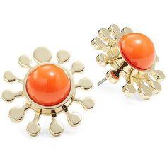 Trina Turk Flower Stud Earrings ($48) ❤ liked on Polyvore featuring jewelry, earrings, orange, trina turk, flower jewellery, resin flower earrings, resin earrings and flower resin jewellery