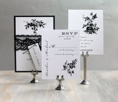 All Black - Black and White Wedding, Lace Wedding Invitations