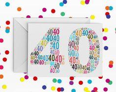40 Birthday Card, Number forty Card, 40th Birthday, Happy Birthday Card, 40th Birthday Card, just a card, milestone birthday