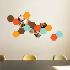 Honeycomb Photo Wall Decals where you choose your own photos and hexagon arrangement from Paper Culture's new Photo Wall Decal and Sticker line.