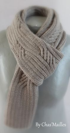 tejidos - Knitting Scarves - tejidos - Knitting Scarves Seafaring Scarf In Big Good Wool Mens Knitted Scarf, Knitted Shawls, Crochet Scarves, Knitting Scarves, Love Crochet, Knit Crochet, Grey Scarf, Knitting Accessories, Lace Knitting