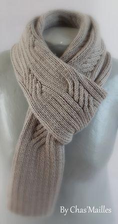 écharpe Homme gris clair à torsades : Echarpes par chas-mailles
