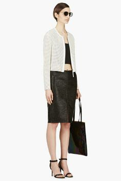 VERSACE Black Tweed Pencil Skirt