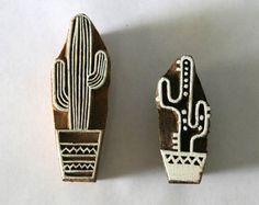 Cactus Wood Block Stamps - Set of 2 - Indian Hand Carved Wood - Gilberts Tree Stamp Printing, Printing On Fabric, Homemade Stamps, Hand Carved, Carved Wood, Stamp Carving, Diy Inspiration, Fabric Stamping, Wood Stamp