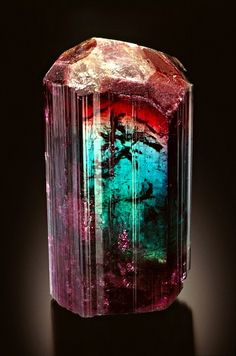 "TOURMALINE—RARE BLUE AND RED SINGLE CRYSTAL.MINE: Barra de Salinas mine, M. G., Brazil  SIZE: 3.5"" tall, 2"" wide  Jeff Scovil / Mineral Friends <3"