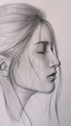 Pencil Drawings Of Girls, Pencil Portrait Drawing, Girl Drawing Sketches, Portrait Sketches, Art Drawings Sketches Simple, Drawings Of People Easy, Drawing With Pencil, Pencil Sketches Of Faces, Pencil Drawing Inspiration