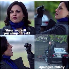 """Robin Regina / Outlaw Queen / OUAT. And let's talk about her Loki moment catching that arrow like """"seriously?!"""" ♥️"""