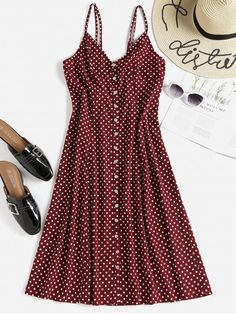 Shop for Polka Dot Button Up Midi Slip Dress RED WINE: Midi Dresses S at ZAFUL. Only $21.49 and free shipping!