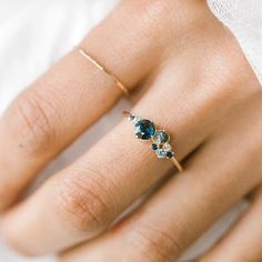 Blue sapphire Indie ring and a barely-there gold hammered band Perfect weekend wear At melaniecasey.com