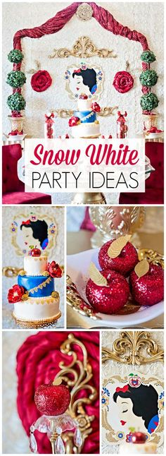 What a lovely Snow White party with enchanting details! See more party ideas at CatchMyParty.com!: