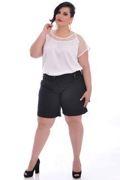Bermuda Viena Black - VK Moda Plus Size