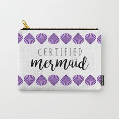 Certified Mermaid by A Little Leafy  @society6 #bag #cosmetics #makeup #pouch #society6 #products #design #shop #shopping #buy #sale #fun #gift #idea #accessory #accessories #home #decor #style #fashion #art #digital #contemporary #cool #hip #awesome #awesomeness #chic #fashion #style #print #wall #homedecor #sweet