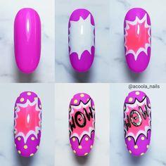 Ongles Pop Art, Pop Art Nails, Nail Pops, Love Nails, Diy Nails, Swag Nails, Heart Nail Designs, Cute Nail Designs, Spring Nails